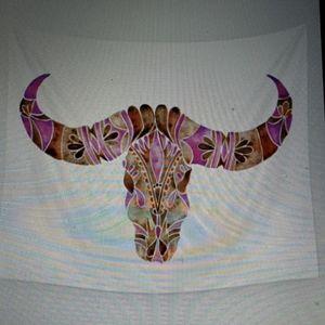 Society 6 Tapestry of water buffalo skull